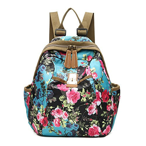 Women Backpack Oxford Casual Enthic Style Printed Covertible Shoulder Bag Lightweight Water Resistant Bags by HONEYJOY