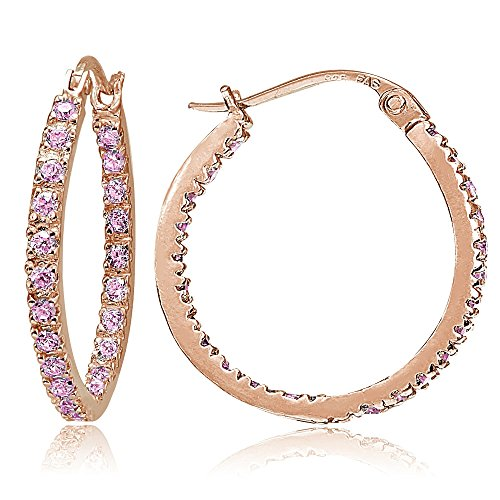 Rose Gold Flash Sterling Silver Pink CZ Inside Out 20mm Round Hoop - For Glasses Round Hair Short Face And