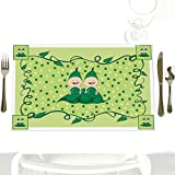 Twins Two Peas in a Pod Caucasian - Party Table Decorations - Baby Shower or Birthday Party Placemats - Set of 12