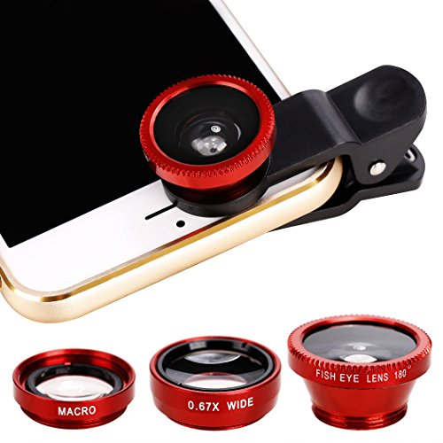 Xinnio Universal 3 in 1 Camera Lens 0.67X Wide Angle Lens+ 180° Fisheye Lens Macro Camera Lens Kit Clip On for iPhone XR/XS/ XS MAX/X/ 8 7 6 Plus, Samsung Smartphones Red from Xinnio