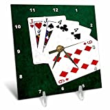 3dRose Alexis Photo-Art - Poker Hands - Poker Hands One Pair, Jack - 6x6 Desk Clock (dc_270575_1)