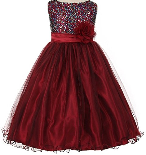 Little Girls Multi Color Sequined Fancy Flowers Girls Dresses Burgundy Size 4 (Fancy Dress Outlet)
