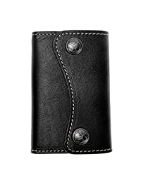 ZLYC Classic Genuine Leather Two Buttons Key Wallet Card Holder Case Keychain