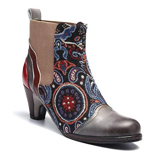 Talons Ville À De Gracosy Cuir Gris Bout Design Chelsea Boots Bottines Boheme Conforts Colorées Pointu Confortable Chaussures Original Bottes Femmes Hiver Hauts xEFwY4wqB