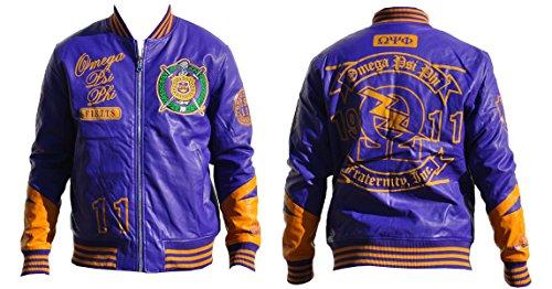 Big Boy Gear Omega Psi Phi Script and Logo PU Leather Jacket, 2XL