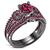 TVS-JEWELS Black Rhodium Plated 925 Silver Wedding Bridal Ring Set In Round Simulated Diamond (12)