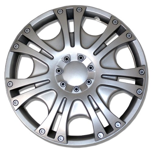 TuningPros WSC-009S14 Hubcaps Wheel Skin Cover 14-Inches Silver Set of - Honda Accord 96 Hubcaps