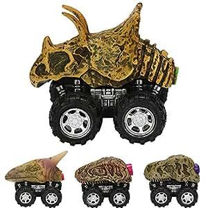 ZHMY Dinosaur Toys, Pull Back Dinosaur Cars, Creative Gifts 3-12 Year Old Boys Girls, 4-Pack (Dinosaur Fossil)