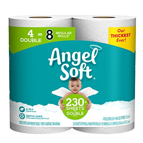 Angel Soft Toilet Paper Bath Tissue, Double Rolls, 230+ 2-Ply Sheets Per Roll, 4 Count
