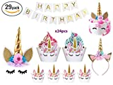 Bestus (29 pack) Unicorn Cake Topper with Eyelashes, Headband, Cupcake Wrappers and Happy Birthday Banner./Unicorn Party Supplies,for Birthday Party, Baby Shower, Kids Party Decoration