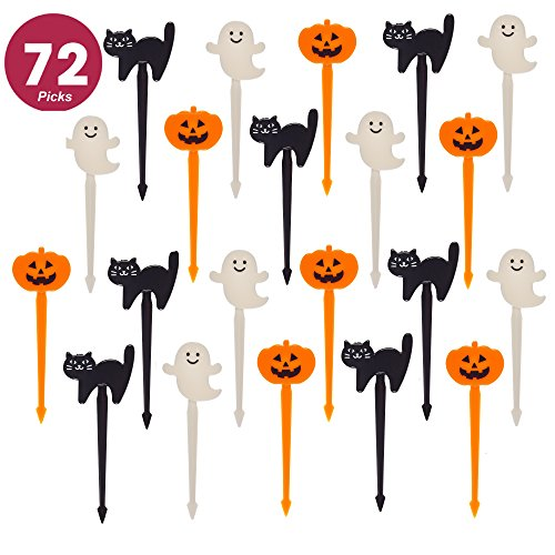Prextex 72 Pack Plastic Halloween Cupcake Picks Ghost Jack 'O Lantern and Black Cat Cupcake Toppers]()