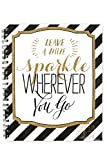 Renewing Minds Glimmer of Gold Leave A Little Sparkle Wherever You Go Lesson Plan & Record Book, 9 x 12 inches, Black/Gold/White