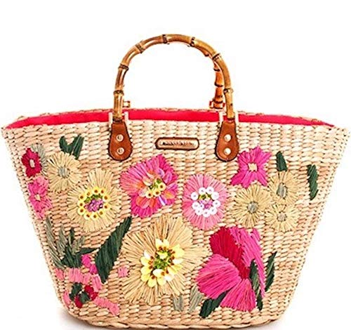 Nicole Lee Floral Woven Straw Bamboo Handle Shopper Tote Bag
