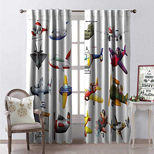 Hengshu Nursery Waterproof Window Curtain Digital Representation of Aero Vehicles Aircrafts Commercial Planes Pattern Decorative Curtains for Living Room W72 x L84 Multicolor