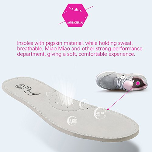 Odema Femmes Plate-forme Sneakers Lacent Respirant Fitness Running Athlétique Chaussures De Marche Gris-rose