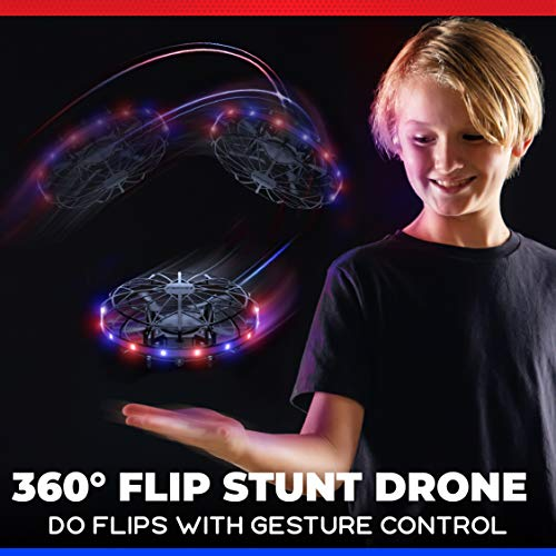Force1 Scoot LED Hand Operated Drone for Kids or Adults - Hands Free Motion Sensor Mini Drone, Easy Indoor Small UFO Toy Flying Ball Drone Toy for Boys and Girls (Red/Blue)