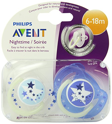 Philips AVENT BPA Nuit Temps libre Pacifier, 6-18 mois, 2 Count Paquet