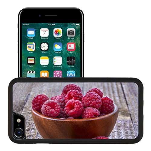Liili Apple iPhone 7 iPhone 8 Aluminum Backplate Bumper Snap iphone7/8 Case Healthy organic raspberries in a bowl on the old rustic table 29450575