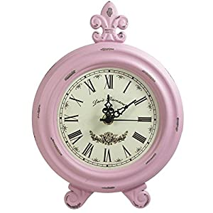 Awesome Retro Vintage Table Clock,Decorative Table Clock,Silent No Ticking Antique Table  Desk Clock, Pink Color (Pink)