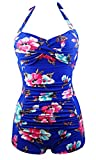 Cocoship Floral French Blue Elegant Retro Boy-Leg One Piece Vintage Ruched Beachwear Swimsuit 14(FBA)