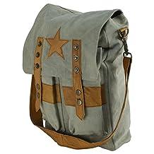 Military Style Star Canvas & Leather Crossbody Tote Bookbag Messenger School Bag