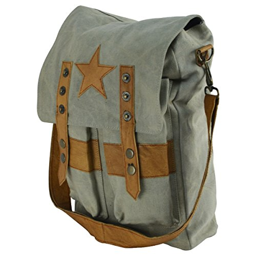 (Military Style Star Canvas & Leather Crossbody Tote Bookbag Messenger School Bag)