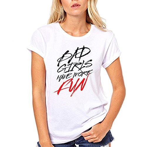 GullPrint Women's Bad Girls Have More Fun T Shirt Large - Marajuna Leaf