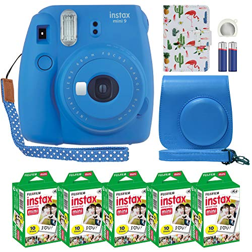 Fujifilm Instax Mini 9 Instant Camera Cobalt Blue with Custom Case + Fuji Instax Film Value Pack (50 Sheets) Flamingo Designer Photo Album for Fuji instax Mini 9 Photos