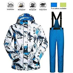 Volwco Veste De Ski Hommes Et Pantalon Ensemble Coupe-Vent étanche l'hiver Respirant en Plein Air Ski Sports Hooded Costumes Ski Set pour Le Snowboard Alpinisme