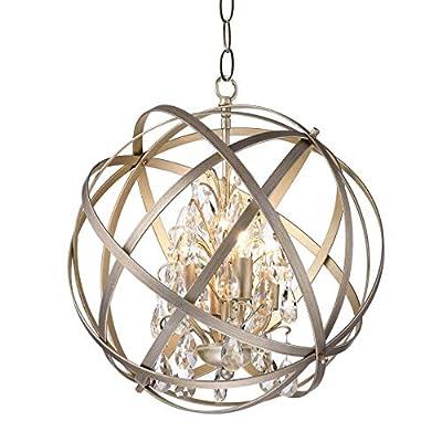 Benita Antique-Copper Metal/Crystal Globe 4-Light Chandelier