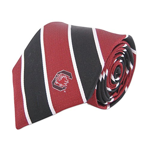 (NCAA South Carolina Fighting Gamecocks Mens Woven Silk Repp Stripe Collegiate Logo Tie 1, Garnet and Black, One Size)