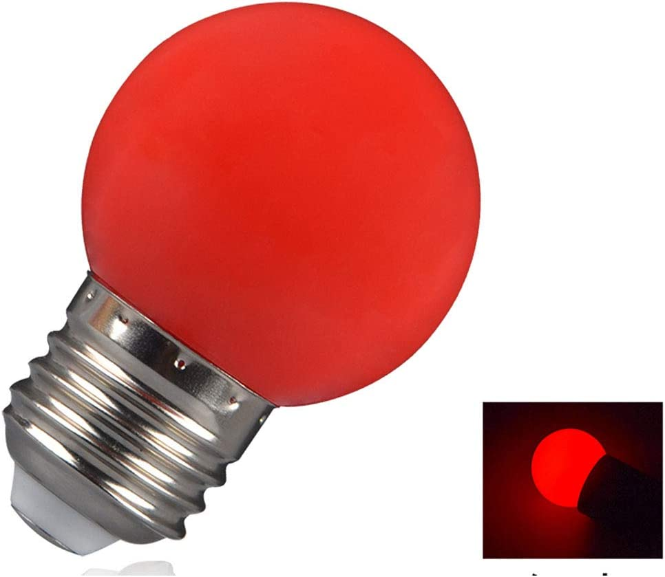 Red LXcom LED Red Light Bulb Color Bulb 10 Pack 1W Globe Bulbs G45 LED Colored Night Light Bulb E26//E27 Medium Base Christmas Holiday Mini Decorative Light Bulb for Wedding Party Festival Home D/écor