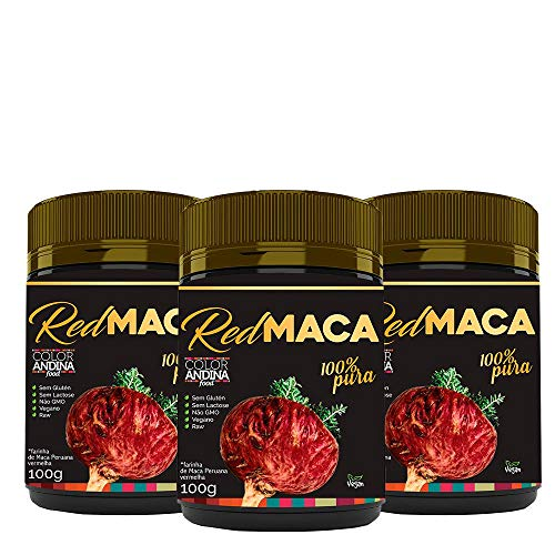 Maca Peruana Red (vermelha), Color Andina Food, 3 potes de 100g