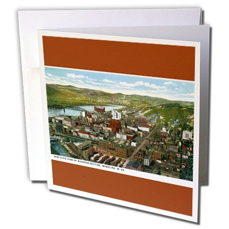 View Postcard Birdseye (3dRose BLN Vintage US Cities and States Postcards - Birds Eye View of Business Section, Wheeling, West Virginia - 12 Greeting Cards with envelopes (gc_170771_2))