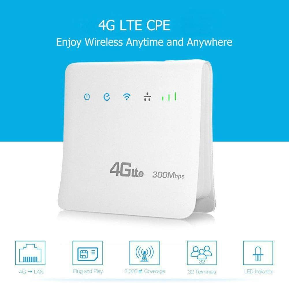 DZSF Router Móvil con Router 4G WiFi Router Inalámbrico Portátil Puerto LAN Routers WiFi 4G LTE 300Mbps Cpesupport Tarjeta SIM