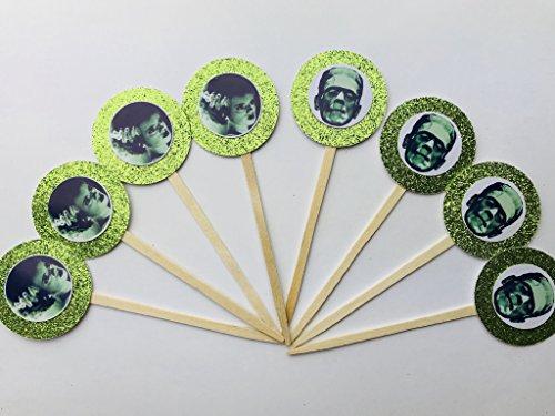 8 Green Frankenstein Bride Cupcake Toppers Halloween Frankenstein Classic Birthday Monster Party Favor (Frankenstein Halloween Cake)