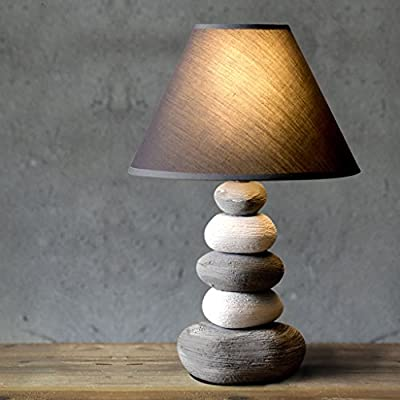 LOFAMI Retro Creative Stone Modeling Bedroom Bedside lamp, Cloth lampshade, Ceramic lamp Body Living Room Decoration Table lamp