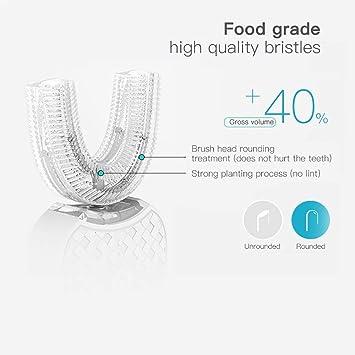 Cepillo de dientes eléctrico V-WHITE 360 ° Cepillo de dientes automático para blanquear los dientes con 4 modos opcionales, base de carga inalámbrica: ...