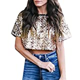 Shirts for Teen Girls Sale Women Sexy Loose Sequin Glitter Blouses Summer Casual Shirts Crop Top Gold