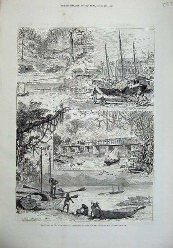 old-print Print 1879 America Isthmus Canal Barbacoas Bridge Mamagua 259N146