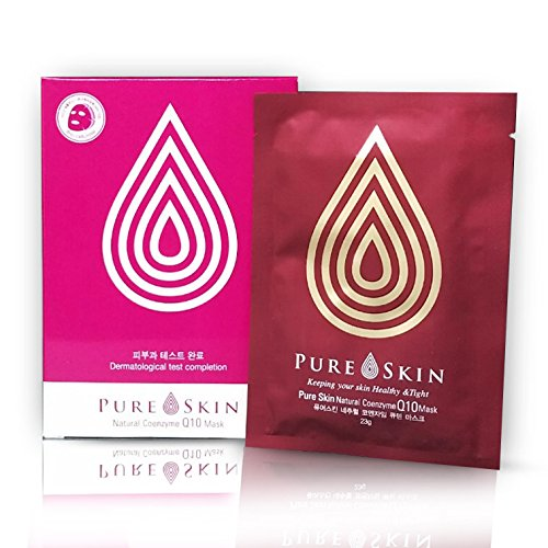 [PURE SKIN] Natural Coenzyme Q10 Mask [0.8 oz. / 23g X 4ea] – Intensive Treatment for Sagging Skin, Abundant Supply of Moisture, Pomegranate ()
