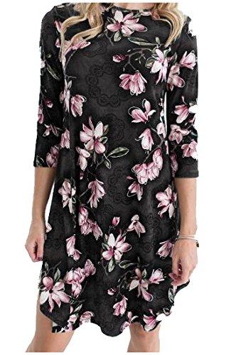 Coolred-femmes Imprimé Floral Mi O Long-cou Robe De Cocktail Chic Parti Noir