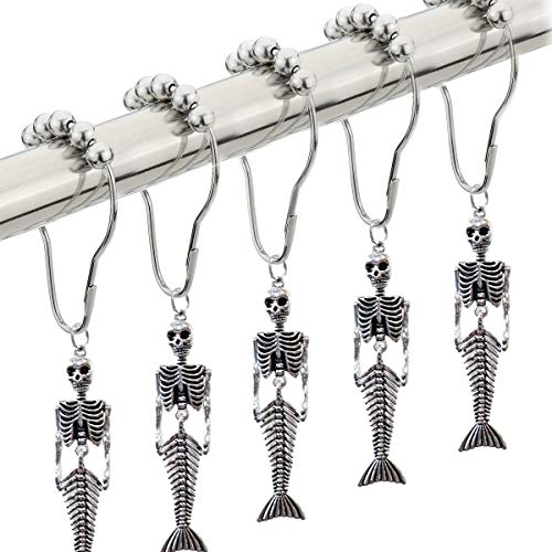 Chictie Skull Mermaid Decorative Shower Curtain Hooks Ring Set of 12-100% Stainless Steel Bathing Shower Rod Hooks Silver Metal Rust Proof Roller Ball Hangers with Fancy Halloween Fish Bone Accessory