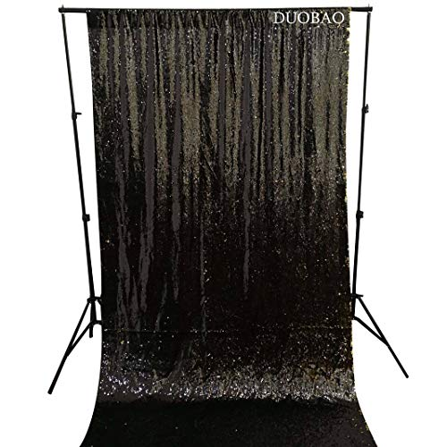DUOBAO Sequin Backdrop Curtains 2 Panels 4FTx8FT Reversible Sequin Curtains Black to Gold Mermaid Sequin Curtain for Wedding Backdrop Party Photography Background by DUOBAO (Image #2)