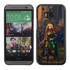 Redhead Héroe mujer Aventura Niños- Metal de aluminio y de plástico duro Caja del teléfono - Negro - HTC One M8