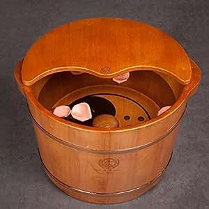 DGF Foot Tub, Household Solid Wood Magnet Massage Foot Basin (L36cm H27cm) ( Color : B )