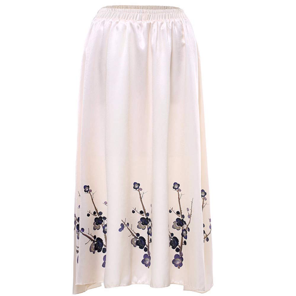 Beige ZPSPZ skirt Women's HalfLength Skirt, Big Dress Skirt, Elastic Waist Printed Slimming Skirt in Europe and America