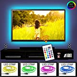 Tv Led Backlight RGB - 16 Changing Colors USB Waterproof TV Lighting 2m Strip Set 3M Adhesive Tape For 40'' to 60'' HDTV Screen With Remote Control By BINOTECH – Additional Extra 30cm Strip Included