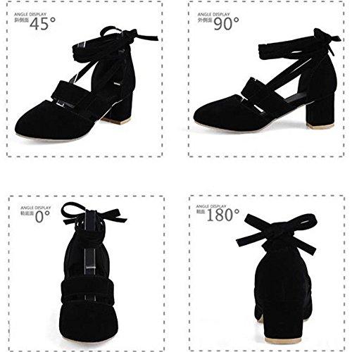 Tacones Zapatos Poplover Puntas Zapatos Cerradas Mujer Correa de Negro Altos Tobillo Cordones qTYZFq