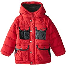 YMI Little Boys' Hooded Jacket Bubble with Contrasting Pleather Pocket